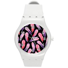 Watercolor Pattern With Feathers Round Plastic Sport Watch (m) by BangZart