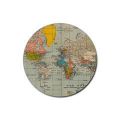Vintage World Map Rubber Coaster (round)  by BangZart