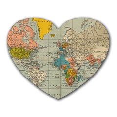 Vintage World Map Heart Mousepads by BangZart
