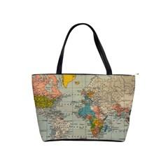 Vintage World Map Shoulder Handbags by BangZart