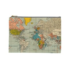 Vintage World Map Cosmetic Bag (large)  by BangZart