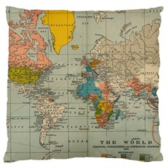 Vintage World Map Large Cushion Case (one Side) by BangZart