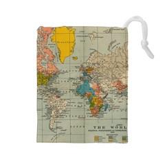 Vintage World Map Drawstring Pouches (large)  by BangZart