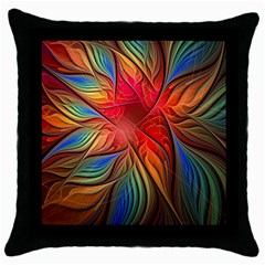 Vintage Colors Flower Petals Spiral Abstract Throw Pillow Case (black) by BangZart