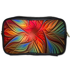 Vintage Colors Flower Petals Spiral Abstract Toiletries Bags by BangZart