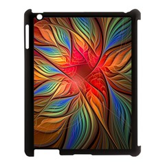 Vintage Colors Flower Petals Spiral Abstract Apple Ipad 3/4 Case (black) by BangZart