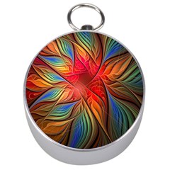 Vintage Colors Flower Petals Spiral Abstract Silver Compasses by BangZart