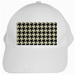 HOUNDSTOOTH2 BLACK MARBLE & BEIGE LINEN White Cap