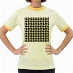 HOUNDSTOOTH2 BLACK MARBLE & BEIGE LINEN Women s Fitted Ringer T-Shirts