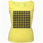 HOUNDSTOOTH2 BLACK MARBLE & BEIGE LINEN Women s Yellow Tank Top