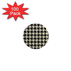 Houndstooth2 Black Marble & Beige Linen 1  Mini Magnets (100 Pack)  by trendistuff