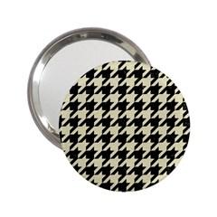 Houndstooth2 Black Marble & Beige Linen 2 25  Handbag Mirrors by trendistuff