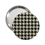 HOUNDSTOOTH2 BLACK MARBLE & BEIGE LINEN 2.25  Handbag Mirrors