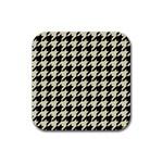 HOUNDSTOOTH2 BLACK MARBLE & BEIGE LINEN Rubber Square Coaster (4 pack)