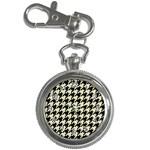 HOUNDSTOOTH2 BLACK MARBLE & BEIGE LINEN Key Chain Watches