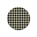HOUNDSTOOTH2 BLACK MARBLE & BEIGE LINEN Rubber Coaster (Round)