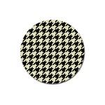 HOUNDSTOOTH2 BLACK MARBLE & BEIGE LINEN Magnet 3  (Round)