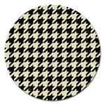 HOUNDSTOOTH2 BLACK MARBLE & BEIGE LINEN Magnet 5  (Round)