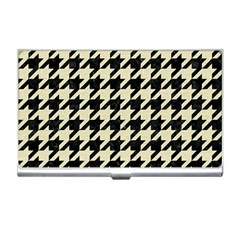 Houndstooth2 Black Marble & Beige Linen Business Card Holders by trendistuff