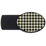 HOUNDSTOOTH2 BLACK MARBLE & BEIGE LINEN USB Flash Drive Oval (2 GB)