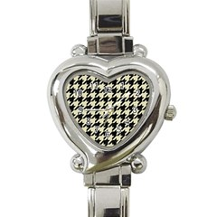 Houndstooth2 Black Marble & Beige Linen Heart Italian Charm Watch by trendistuff