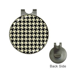Houndstooth2 Black Marble & Beige Linen Hat Clips With Golf Markers by trendistuff