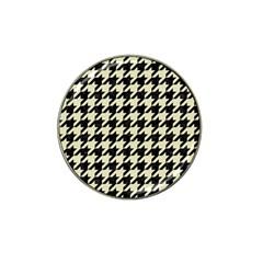Houndstooth2 Black Marble & Beige Linen Hat Clip Ball Marker (10 Pack) by trendistuff
