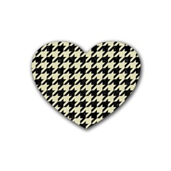Houndstooth2 Black Marble & Beige Linen Heart Coaster (4 Pack)  by trendistuff