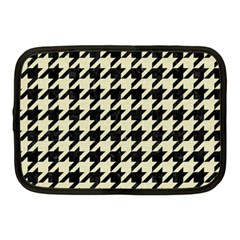 Houndstooth2 Black Marble & Beige Linen Netbook Case (medium)  by trendistuff