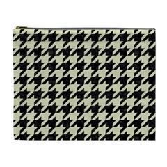 Houndstooth2 Black Marble & Beige Linen Cosmetic Bag (xl) by trendistuff