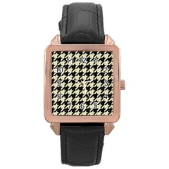 Houndstooth2 Black Marble & Beige Linen Rose Gold Leather Watch  by trendistuff