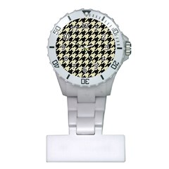 Houndstooth2 Black Marble & Beige Linen Plastic Nurses Watch by trendistuff