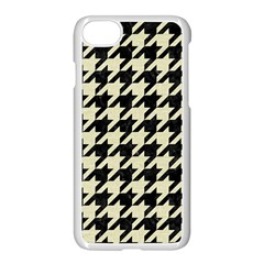 Houndstooth2 Black Marble & Beige Linen Apple Iphone 7 Seamless Case (white) by trendistuff