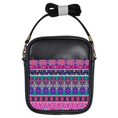 Tribal Seamless Aztec Pattern Girls Sling Bags by BangZart