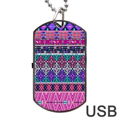 Tribal Seamless Aztec Pattern Dog Tag Usb Flash (two Sides) by BangZart