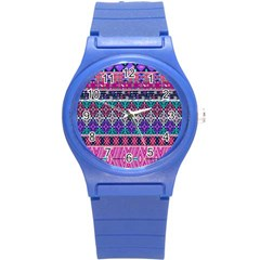 Tribal Seamless Aztec Pattern Round Plastic Sport Watch (s) by BangZart