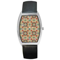 Traditional Scandinavian Pattern Barrel Style Metal Watch by BangZart