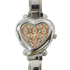 Traditional Scandinavian Pattern Heart Italian Charm Watch by BangZart