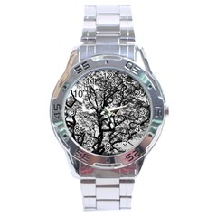 Tree Fractal Stainless Steel Analogue Watch by BangZart