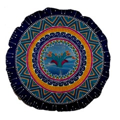 Traditional Pakistani Art Large 18  Premium Flano Round Cushions by BangZart