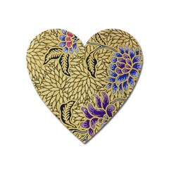 Traditional Art Batik Pattern Heart Magnet by BangZart