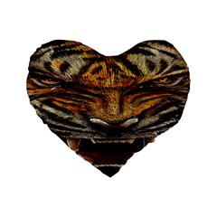 Tiger Face Standard 16  Premium Heart Shape Cushions by BangZart