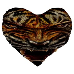 Tiger Face Large 19  Premium Heart Shape Cushions by BangZart