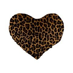 Tiger Skin Art Pattern Standard 16  Premium Flano Heart Shape Cushions by BangZart