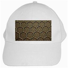 Texture Hexagon Pattern White Cap by BangZart