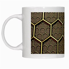 Texture Hexagon Pattern White Mugs by BangZart