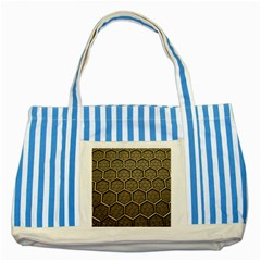 Texture Hexagon Pattern Striped Blue Tote Bag by BangZart