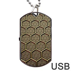Texture Hexagon Pattern Dog Tag Usb Flash (two Sides) by BangZart