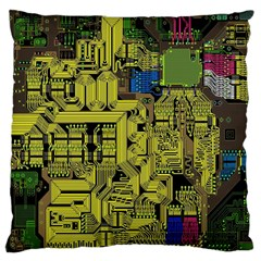 Technology Circuit Board Large Cushion Case (two Sides) by BangZart