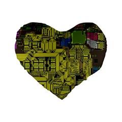 Technology Circuit Board Standard 16  Premium Flano Heart Shape Cushions by BangZart